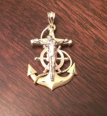 (14K SOLID GOLD TRI-COLOR MARINER'S ANCHOR CRUCIFIX CROSS CHARM  PENDANT  4.3 GM)