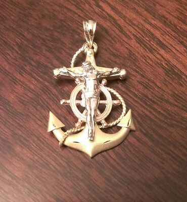 14K SOLID GOLD TRI-COLOR MARINER'S ANCHOR CRUCIFIX CROSS CHARM PENDANT 1.5