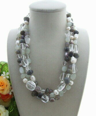 3rows Cultured White Pearl Labradorite Agate Moonstone Necklace 19