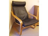 Brown Leather Ikea Poang Chair and optional Footstool.