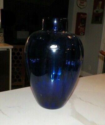 2005 BLENKO BLUE LARGE ART GLASS VASE 13 3/4