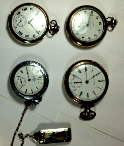 4 Pocket watches,antique, Elgin, Waltham,Mermod Jaccard, Elgin,#15752