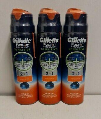 Gillette Fusion Shaving Gel Proglide Sensitive Active Sport 170ml x 3 cans