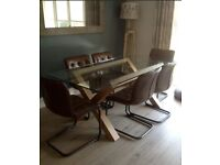 Bentley Designs Turin Oak Glass Top Dining Table Chairs Not Included
