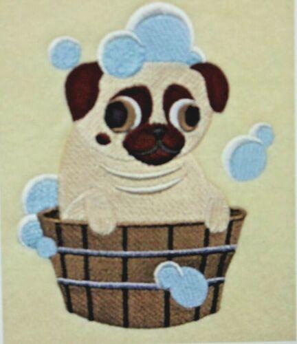 PUG KIDS Bathroom HAND TOWELS EMBROIDERED SET
