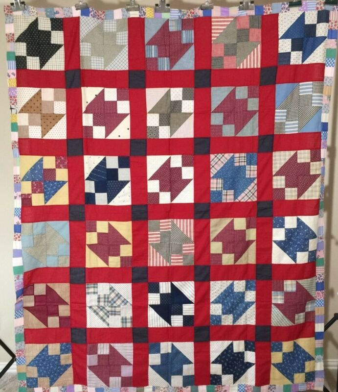 Antique Quilt Top Anvil with Pieced Border C1930 TX