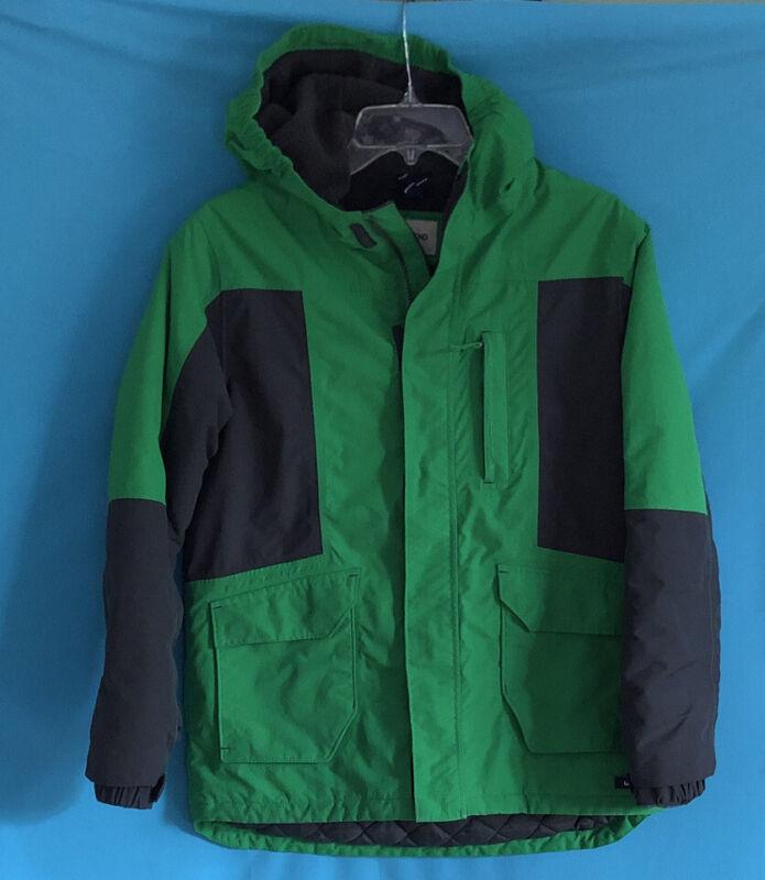 Boys Lands End Coat Green Gray Waterproof Fleece Lining Grow A Long L 12-14 Ski