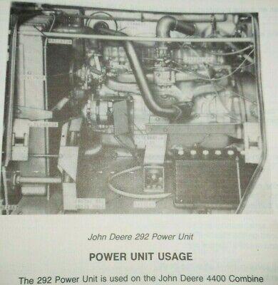 John Deere 292 Series Power Unit Engine Parts Catalog Original For 4400 Combine