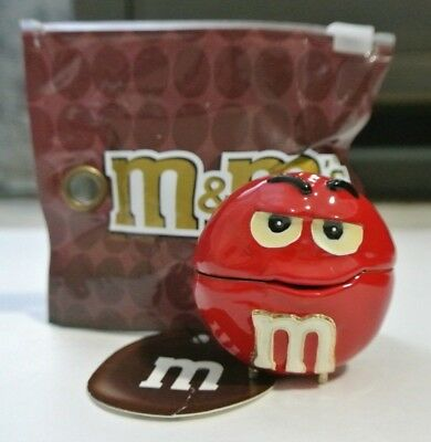 New NWT Monet Red M&M Character Enamel Hinged Keepsake Trinket Box (Hinged Trinket Boxes)