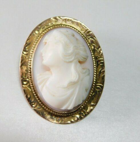 Vintage / Antique Victorian 10k Rose Gold Cameo Pendant / Brooch