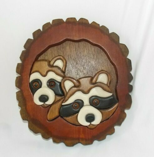Carved Intarsia Wood Raccoons Looking Out of Tree Wall Hanging Home Cabin 9""