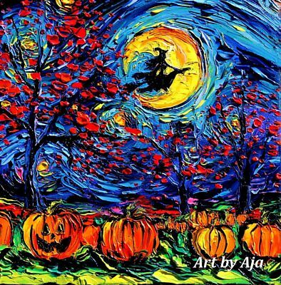 Halloween Decoration Flying Witch on Broom Starry Night Wall Art Print Decor - Aja Halloween