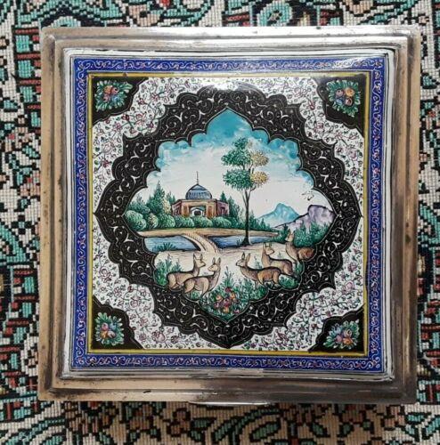 ANTIQUE PERSIAN SILVER & ENAMEL ISPHAHAN VANITY CIGARETTE BOX