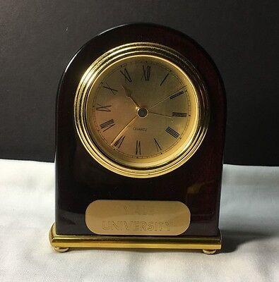 CLOCK DESK TABLE OFFICE YALE UNIVERSITY ALARM AAA BATTERY BEDSIDE VERY (Yale Wood Clock)