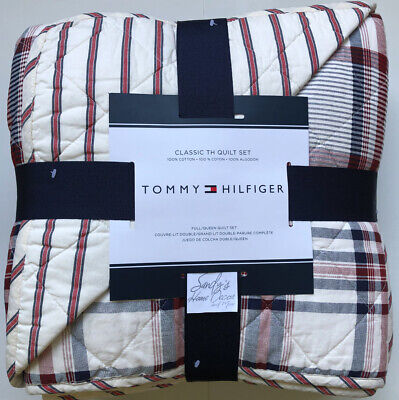 Tommy Hilfiger VINTAGE PLAID 3pc Full QUEEN QUILT SHAMS SET Navy BLUE RED Cotton