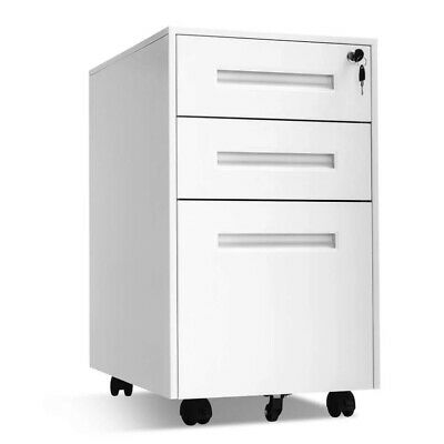 Rolling File Cabinet 3-drawer Filing Storage White Metal With Lock And Wheels