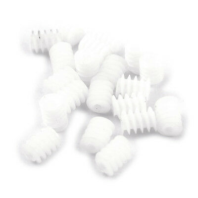 20 Pcs White Plastic Gear Worm Screws 6mmx8mm For Rc Diy Model Toys Ts