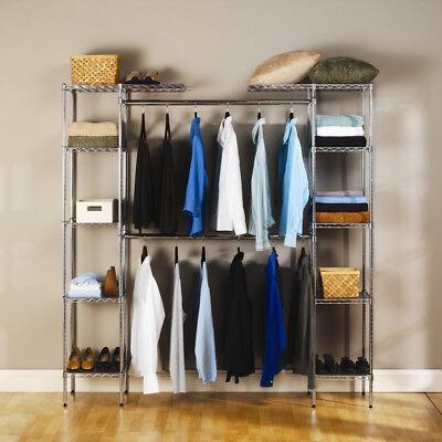 Clothing Garment Rack Hanger Shelving Wire Shelf Dress Wardrobe Portable Rail Us
