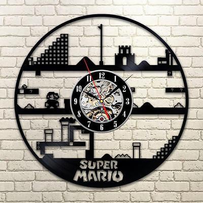 Super Mario Vinyl Record Wall Clock Game Gift Idea For Girl Boy Home Room - Super Mario Decoration Ideas
