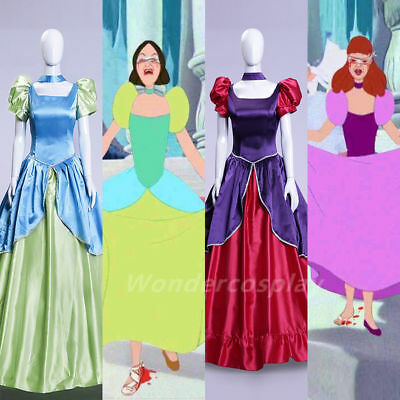 Cinderella Step Sisters Costume Anastasia Drizella Cosplay Dress Party Ball  HH