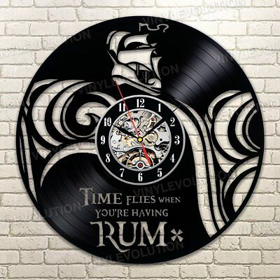 - Pirate Vinyl Record Wall Art Clock Time Flies When You're Having Rum Handmade