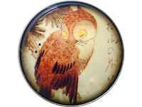 Crystal Dome Button Owl  on Branch AF 45 FREE US SHIPPING
