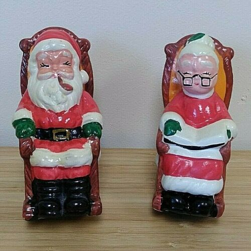 Santa Claus and Mrs. Claus in Rocking Chairs Ceramic Banks VIntage