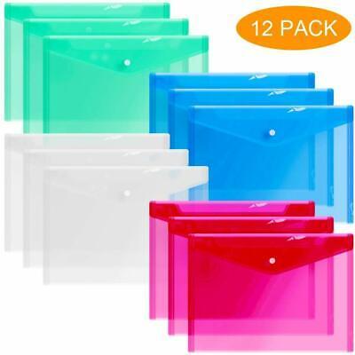 12 Plastic Envelopes Clear Document Folders Poly Envelope Transparent 4 Colors