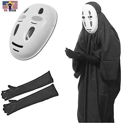 Manga Kaonashi No Face Cosplay Costume Halloween Cloak Outfit + Gloves Mask Set](No Costume Halloween Outfit)
