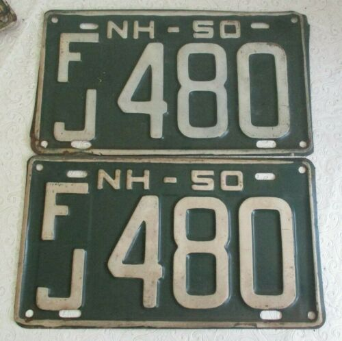 1950 New Hampshire License Plate Tag  pair FJ 480