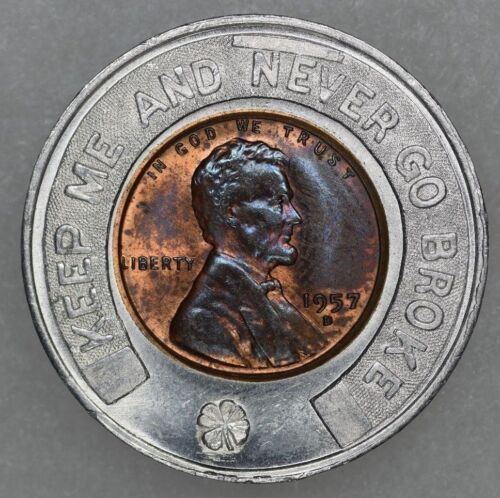 1957 D 1c Lincoln Wheat Encased Cent Everett W Smith For Commissioner Political