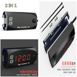 Universal Car SUV 2in1 Gauge  Meter Digital Red LED Voltmeter Voltage Time Clock