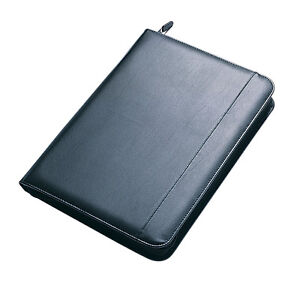 Collins A4 Black Executive Zipped Conference Folder Leather Look Portfolio 7018