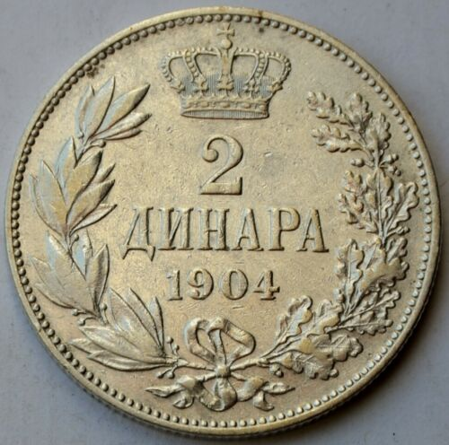 Serbia, 2 Dinara 1904, King Petar I, Yugoslavia, silver coin