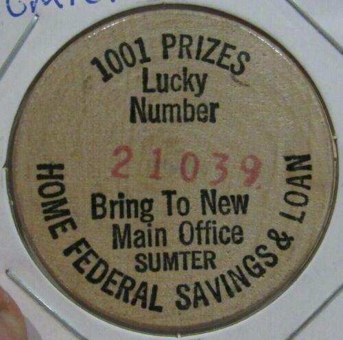Vintage Home Federal Savings Sumter, SC Wooden Nickel - Token South Carolina