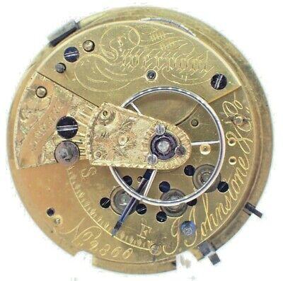 Antique Joseph Johnson 11J English Key Wind Fusee Pocket Watch Movement Running