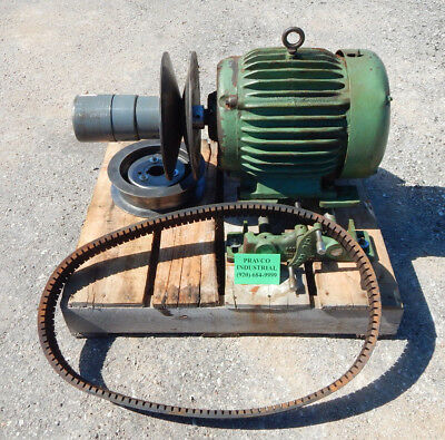 Baldor M228t 5hp Motor With Rc1315 Variable Speed And 4430v790 Multispeed Belt
