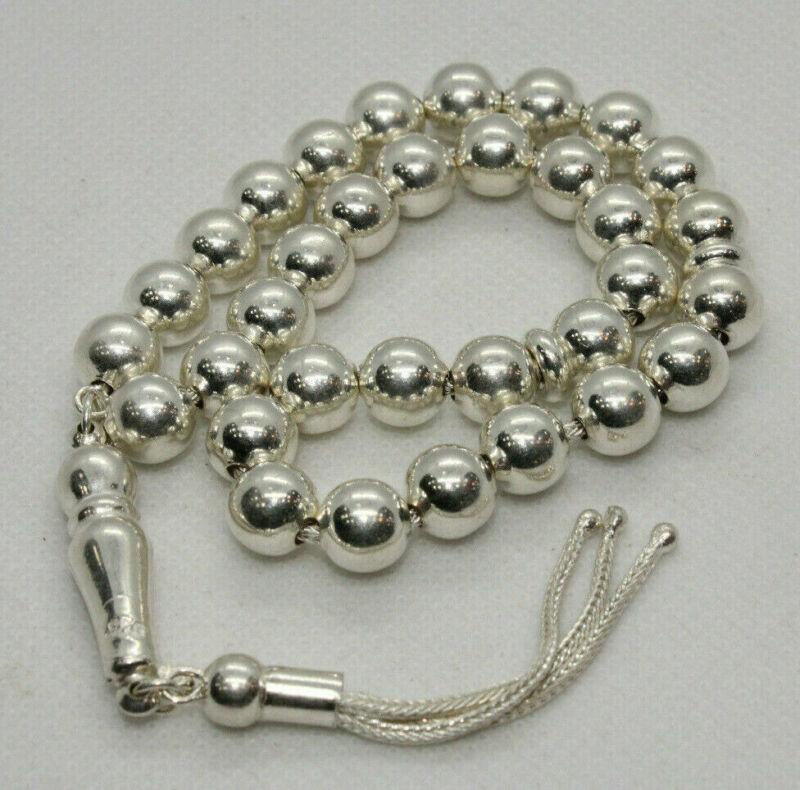 Italian 925 Sterling Silver Rosary 33 Prayer Beads Muslim Misbaha Tasbih 21 Gr