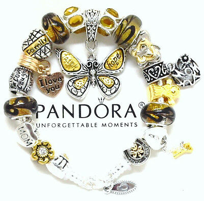 - Authentic Pandora Sterling Silver Bracelet Mom Topaz Butterfly European Charms