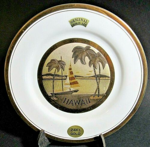 THE ART OF CHOKIN  6 INCH PLATE, white, 24K GOLD TRIM Hawaii, excellent
