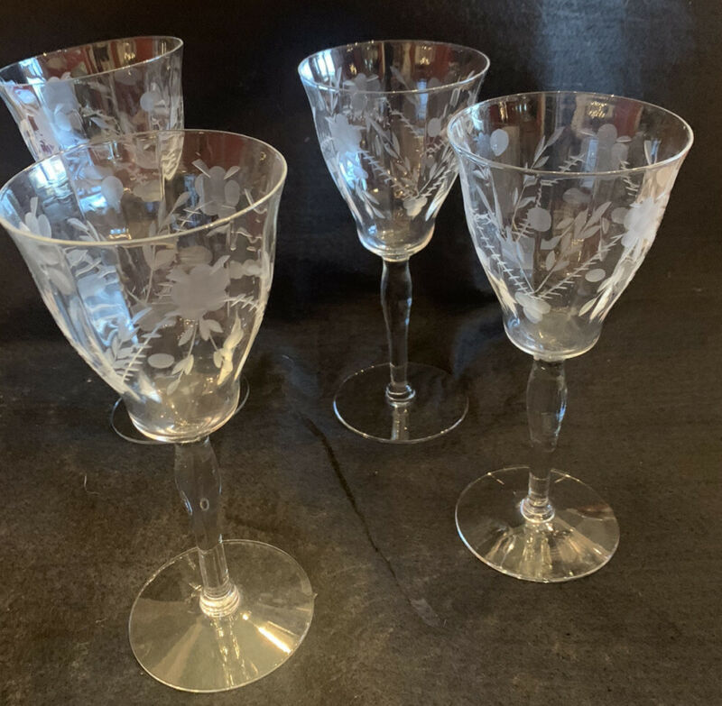 Vintage Antique Tall Elegant Etched Crystal Wine Glasses Goblets Set Of Four