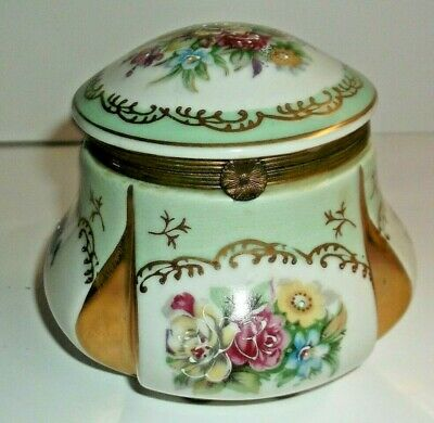 Vintage Hand Painted HInged Porcelain Trinket Box ~ Blue Crossed Arrows Hand Painted Hinged
