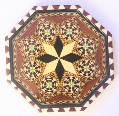 Beautiful Inlaid Octagonal Wooden Handmade Tray Vintage Plate Inlay SK190311