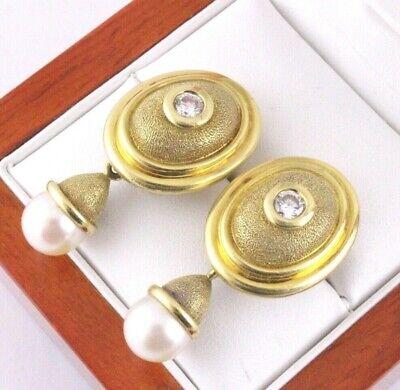 18K YG Diamond South Sea Pearl Drop Dangle Earrings Detachable Drops Designer Designer South Sea Earrings