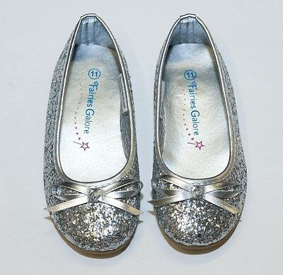 Little Girl Toddler Silver Glitter Shoes Flats Ballerina Pagent Dress - Silver Little Girl Dresses