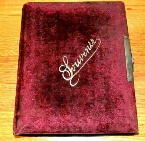 Antique Vintage 1800s Souvenir Photo Album - Plum Velvet Cover & Elaborate Clasp