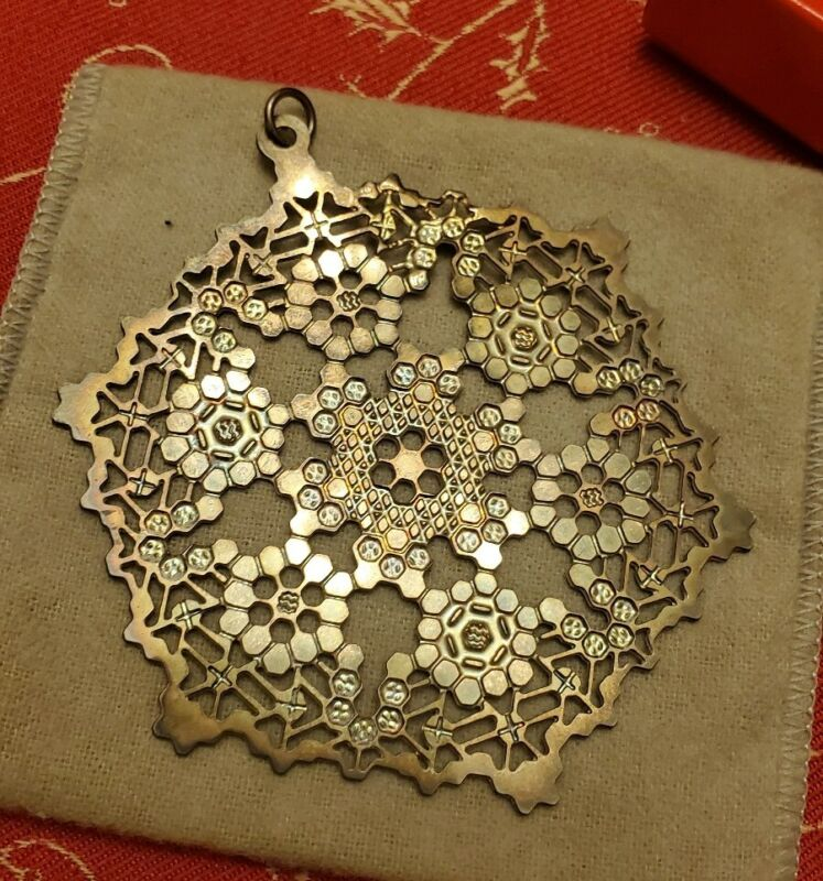 1991 Vintage Silver  plated MMA Museum Art Snowflake Star Christmas Ornament