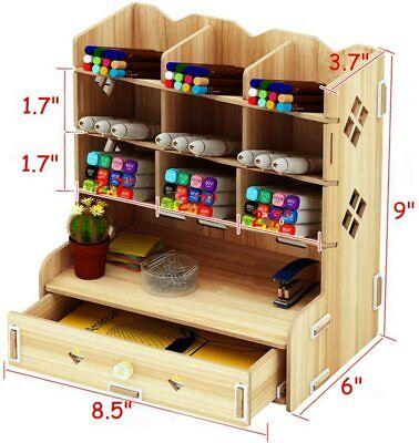 Wooden Desk Organizer W Drawers - Office Supplies Desktop Tabletop Rack Holder
