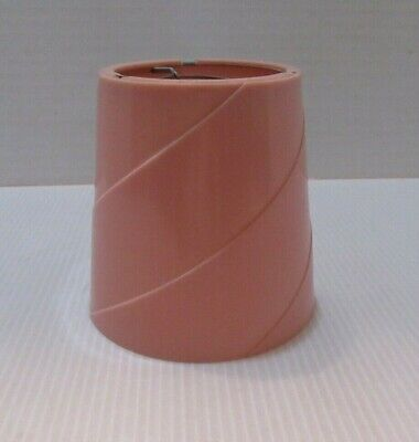 """Vintage Small Pink Hard Plastic Lamp Shade-Clip On 4"""" Tall"""