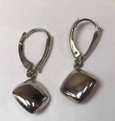 14k Modern Style Gold Earrings (14K WHITE GOLD LONG DANGLING SQUARE MODERN ART STYLE MODERNISTIC EARRINGS )